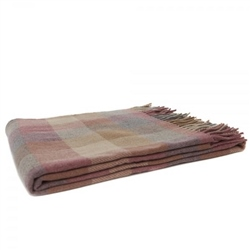 Magee 1866 Moss - Small Pink, Grey & Camel Patchwork Throw