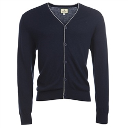 Magee Clothing Navy Lightweight Merino Wool Cardigan