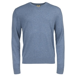 Magee Clothing Pale Blue Merino V-Neck Jumper
