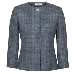 Magee 1866 Blue Silk Blend Cropped Jacket