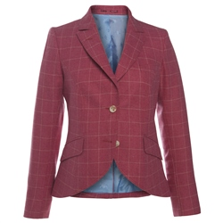 Magee Clothing Pink Check Wool Blend Jacket