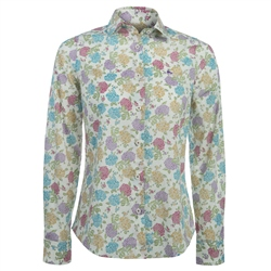 Magee Clothing Green, White & Lilac Liberty Print Shirt