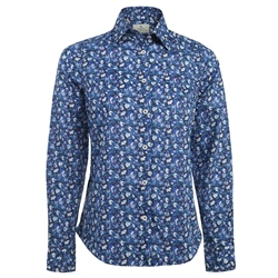 Magee 1866 Blue & White Liberty Floral Print Shirt