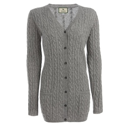 Magee 1866 Grey Cashmere Mix Boyfriend Cardigan