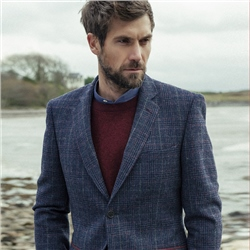 Magee Clothing Blue, Red & Camel Donegal Tweed Check Regular Fit Blazer