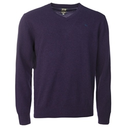 Magee Clothing Purple Lambswool V-Neck Jumper