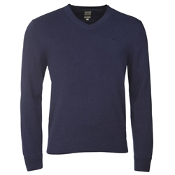 Magee 1866 Aubergine Cotton V-Neck Jumper