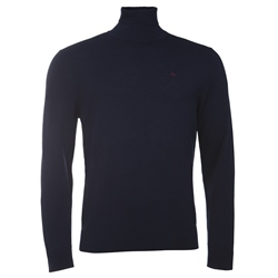 Magee Clothing Navy Merino Wool Turtle Neck Jumper