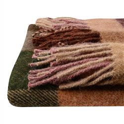 Willow - Large Brown, Salmon, Beige Patchwork Throw