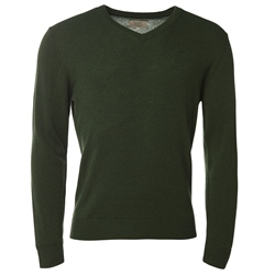 Magee Clothing Green Cashmere V-Neck Jumper