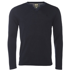 Magee Clothing Navy Cotton & Linen Henley Jumper