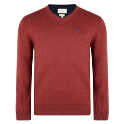 Magee Clothing Rust Red Cotton V-Neck Jumper