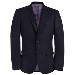 Magee Clothing Navy Handwoven Donegal Tweed Twill Tailored Fit Blazer