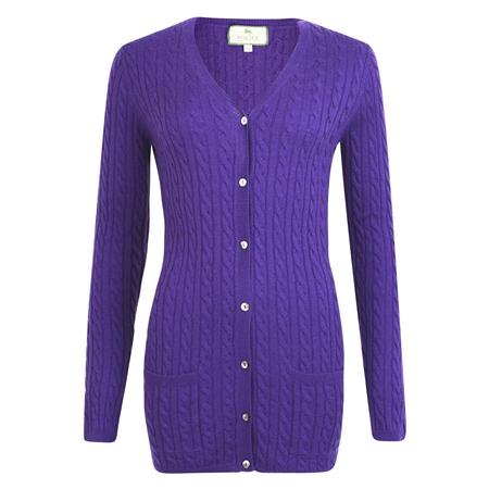 Purple Cashmere Blend Julie Boyfriend Cardigan  - Click to view a larger image