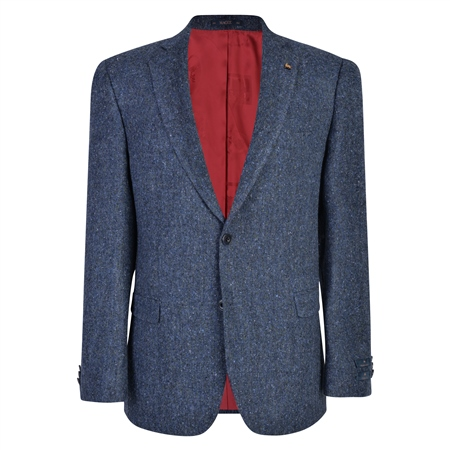Blue & Grey Handwoven Donegal Tweed Blazer  - Click to view a larger image