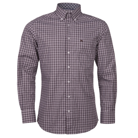 Magee 1866 - Plum & White Checked Button Down Shirt