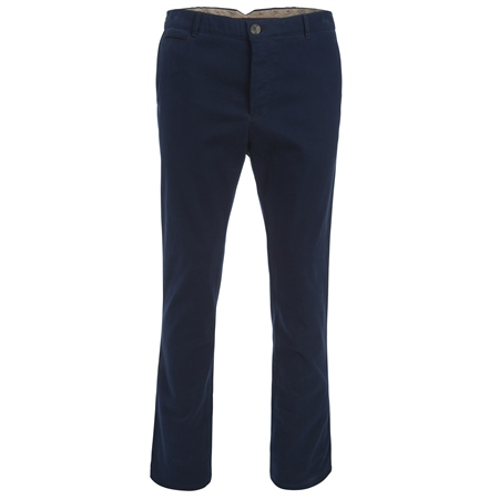 Navy Straight Leg Cotton Tailored Fit Trousers  - Click to view a larger image
