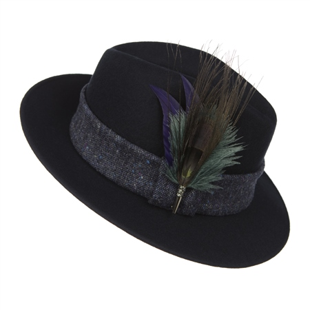 Navy Hazel Trilby Hat  - Click to view a larger image