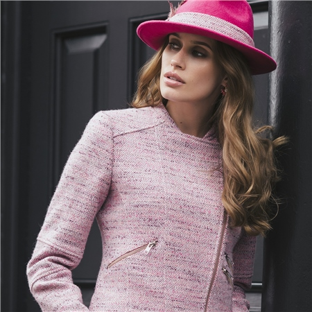 Fuchsia Pink Holly Trilby Hat  - Click to view a larger image