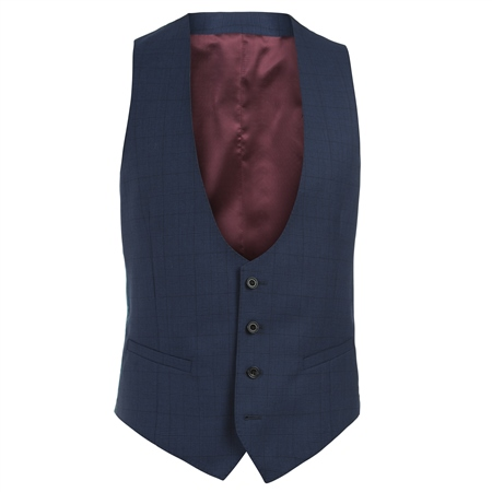 Navy Check 3 Piece Tailored Fit Suit Waistcoat  - Click to view a larger image