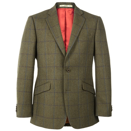 Green Country Check Herringbone Tweed Blazer  - Click to view a larger image