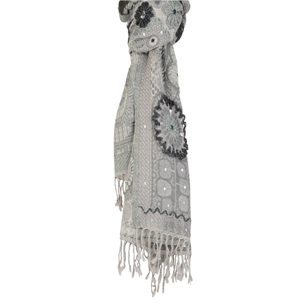 Grey & Silver Wool Scarf  - Click to view a larger image