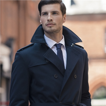 Mountcharles Navy Trench Coat  - Click to view a larger image