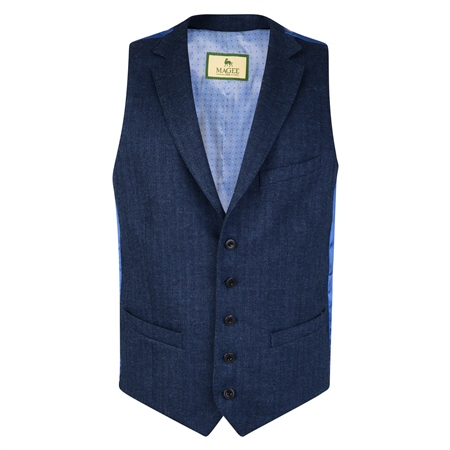 Navy Blue Linen, Wool & Cashmere Tailored Fit Waistcoat  - Click to view a larger image