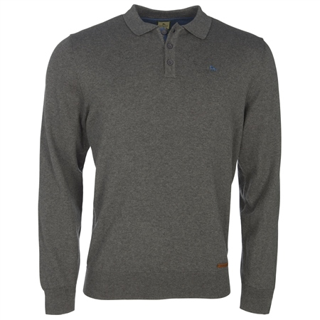 Charcoal Cotton Cashmere Long Sleeve Tailored Fit Polo Shirt  - Click to view a larger image