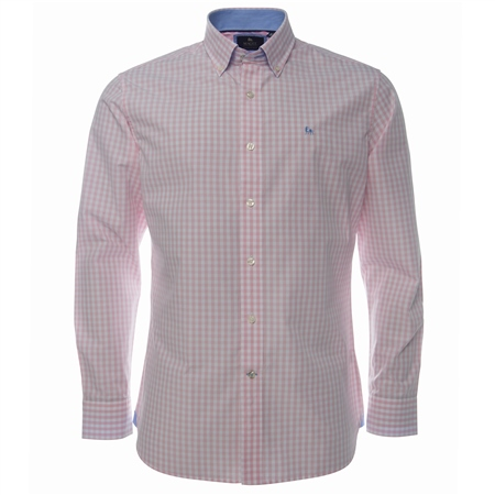 Pink Gingham Check Button Down Regular Fit Shirt  - Click to view a larger image