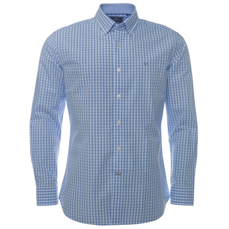 Blue Gingham Check Button Down Regular Fit Shirt  - Click to view a larger image