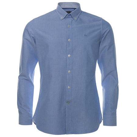 Blue Solid Oxford Button Down Tailored Fit Shirt  - Click to view a larger image