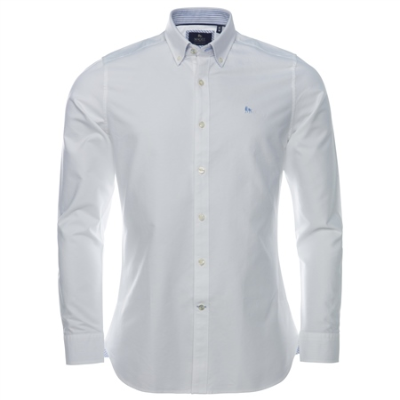 White Solid Oxford Tailored Fit Shirt  - Click to view a larger image