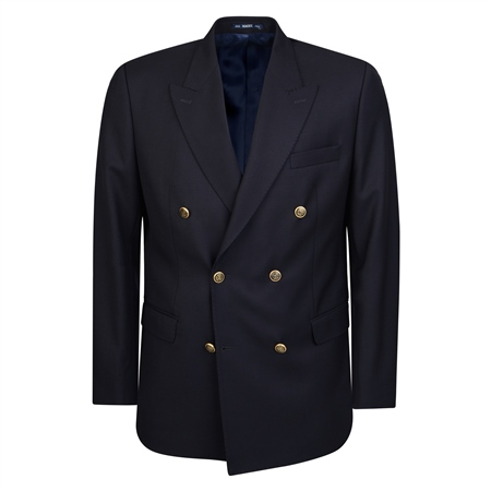 Navy Double Breasted Regular Fit Blazer  - Click to view a larger image
