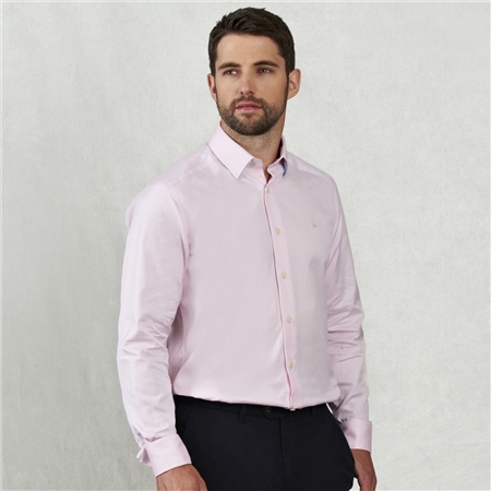 Pink Benroe Double Cuff Tailored Fit Shirt  - Click to view a larger image