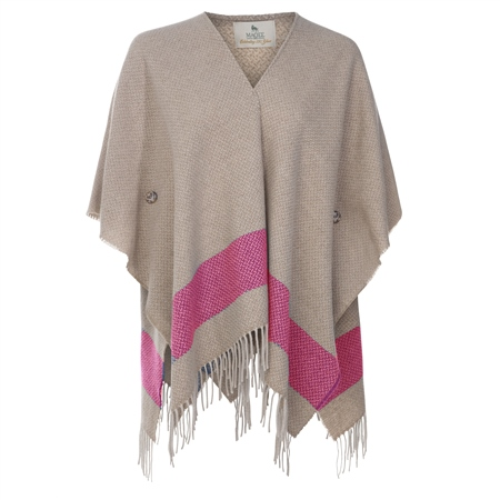 Camel & Pink Donegal Tweed Eske Cape  - Click to view a larger image