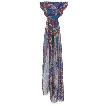 Blue, Brown & Pink Paisley Scarf  - Click to view a larger image