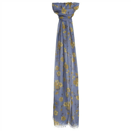 Blue Floral Print Scarf  - Click to view a larger image