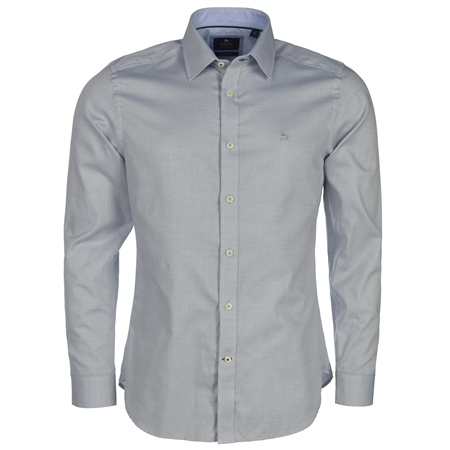 Magee 1866 - Blue & White Concealed Button Down Tailored Fit Shirt