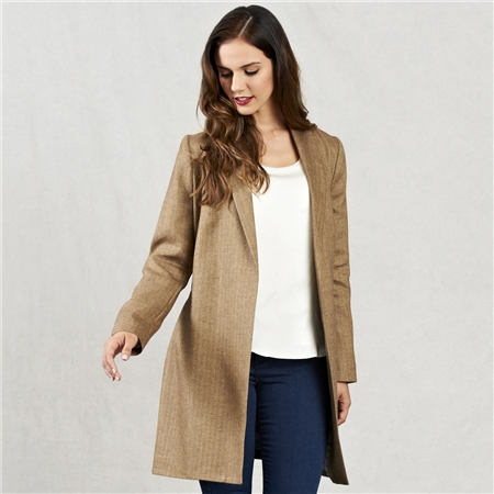 Oat Clooney Donegal Tweed Cardigan Coat   - Click to view a larger image