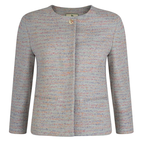 Multicoloured Donegal Tweed Joyce Cropped Jacket  - Click to view a larger image