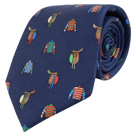Navy Saddles & Jockey Printed Silk Tie  - Click to view a larger image