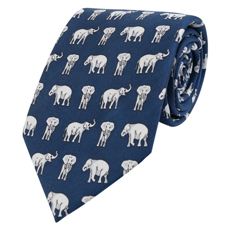 Navy & Grey Elephant Printed Silk Tie  - Click to view a larger image