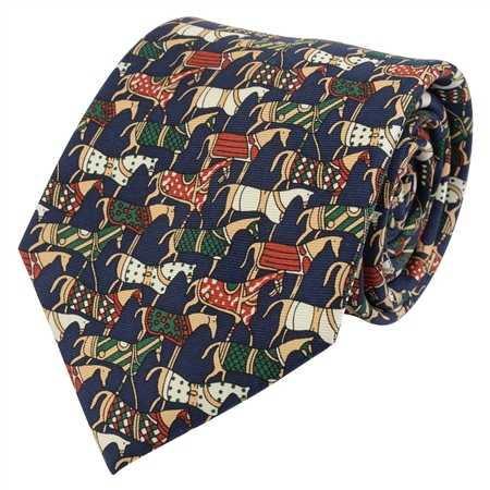 Navy Horse Printed Silk Tie  - Click to view a larger image