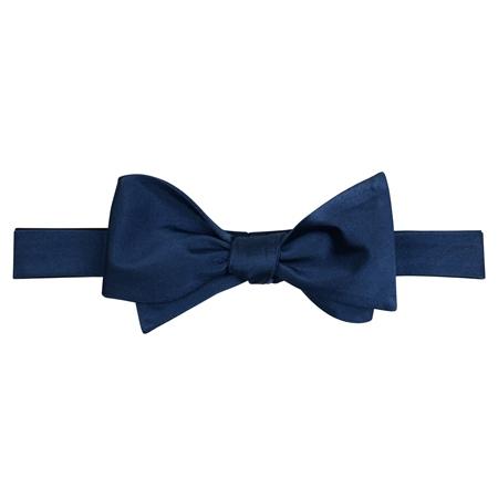 Navy Silk Self Tie Bow Tie - One Size