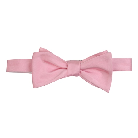 Pink Silk Self Tie Bow Tie  - Click to view a larger image