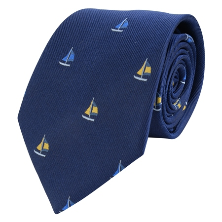 Navy Boats Printed Silk Tie  - Click to view a larger image