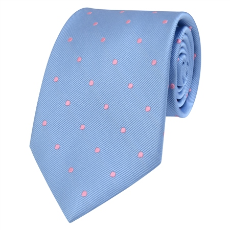 Blue & Pink Polka Dot Silk Tie  - Click to view a larger image