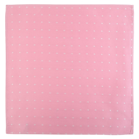 Pink & White Polka Dot Pocket Square  - Click to view a larger image