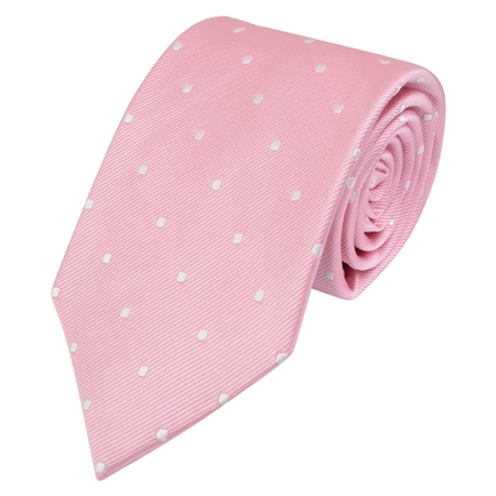 Pink & White Polka Dot Silk Tie  - Click to view a larger image